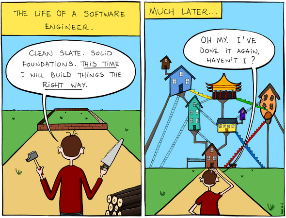 Building software is often patches on top of patches on top of patches...